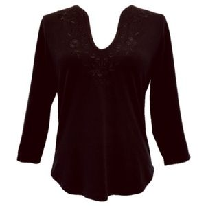 INC Embroidered Stretch Knit 3/4 Sleeve Top